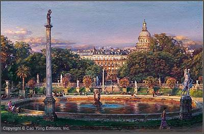 Cao Yong Painting - The Luxembourg Garden II La Fountaine by Cao Yong