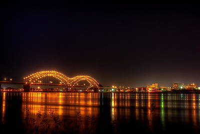 Photograph - The M Bridge Over The Mississippi River At Memphis Tn by Reid Callaway