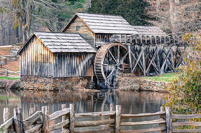 Grist Mill Photograph - The Mabry Mill - Blue Ridge Parkway - Virginia by Gregory Ballos