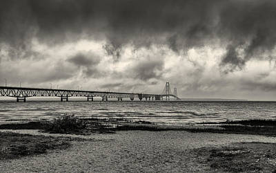 Photograph - The Mackinac Bridge B W by John M Bailey