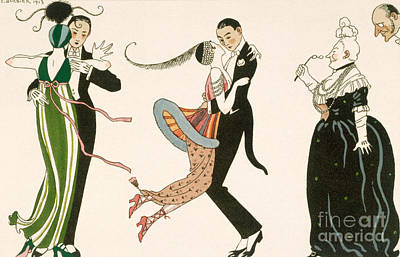 Long Necklace Painting - The Madness Of The Day by Georges Barbier