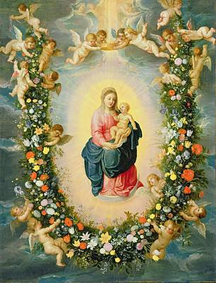 The Madonna And Child In A Floral Garland Art Print