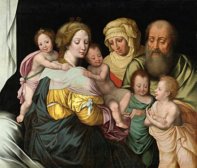 Painting - The Madonna And Child With Saints Elizabeth And Other Members Of The Holy Family. The Holy Kinship by Vincent Sellaer