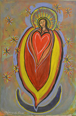 Gold Star Mother Painting - The Madonna Of The Heart And Moon by Kathryn Bonner