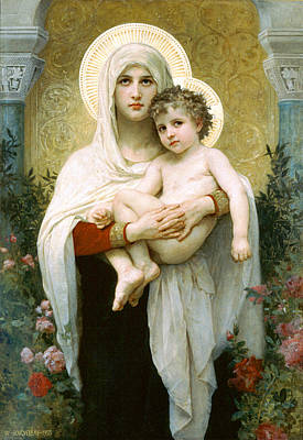 Religious Artist Painting - The Madonna Of The Roses by William-Adolphe Bouguereau