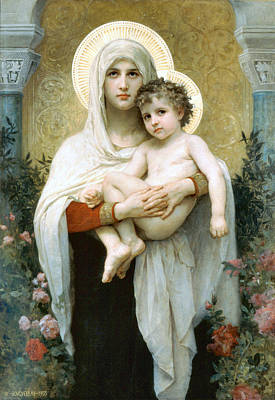 The Madonna Of The Roses Art Print by William Bouguereau