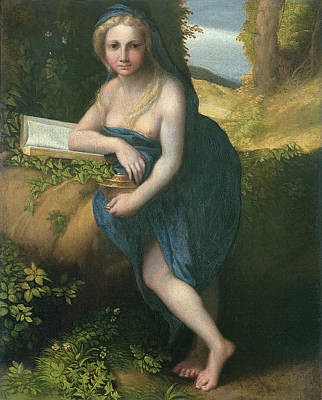 Madeleine Photograph - The Magdalene, C.1518-19 Oil On Canvas by Correggio
