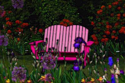 Birthday Gift Ideas Photograph - Magenta Garden Bench by Thom Zehrfeld
