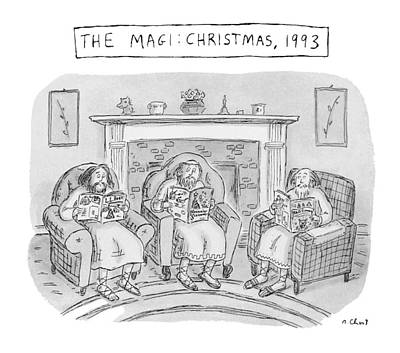 Schwartz Drawing - The Magi:  Christmas by Roz Chast