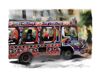 Haitian Painting - The Magic Bus by Bob Salo