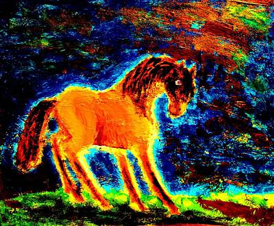 Amble Painting - The Magic Horse Will Talk To You But Will You Understand  by Hilde Widerberg