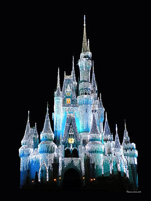Princes Photograph - The Magic Kingdom Castle In Frosty Light Blue Walt Disney World by Thomas Woolworth