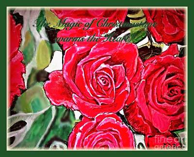 Golden Vines Painting - The Magic Of Christmastime In Red Roses Traditional by Kimberlee Baxter