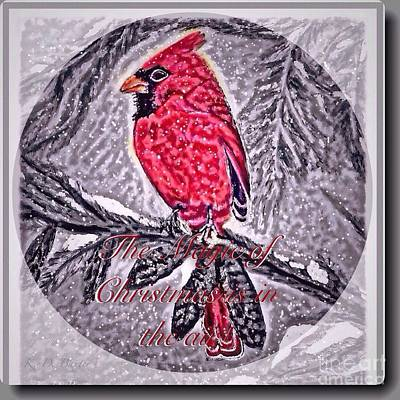 Painting - The Magic Of Christmastime In A Woodland With A Cardinal by Kimberlee Baxter