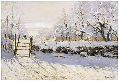 Magpies Painting - The Magpie Snow Effect by Claude Monet