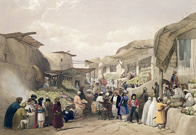 Afghanistan Drawing - The Main Street In The Bazaar by James Atkinson