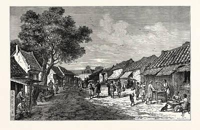 Main Street Drawing - The Main Street Of Hu by English School