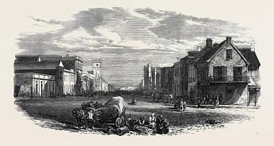 Main Street Drawing - The Main Street Of Port Elizabeth Algoa Bay Cape Colony 1866 by English School