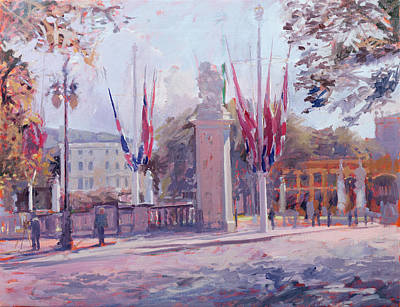 Flagpole Photograph - The Mall Oil On Canvas by Sarah Butterfield