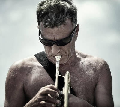 The Man His Trumpet And The Sea Art Print by Michel Verhoef