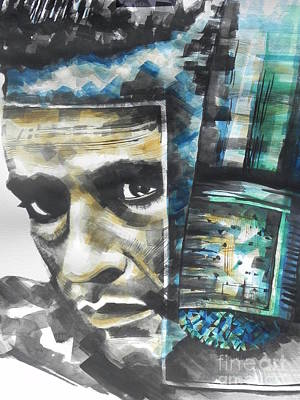 Music Paintings - The Man In Black  Singer Johnny Cash by Chrisann Ellis