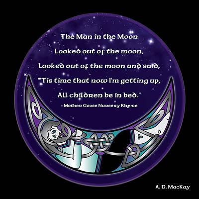 Digital Art - The Man In The Moon by Celtic Artist Angela Dawn MacKay
