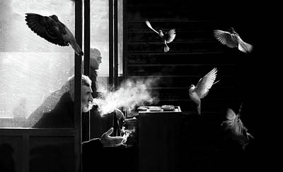Pigeon Photograph - The Man Of Pigeons by Juan Luis Duran