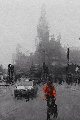 City Scape Painting - The Man On The Bicycle by Steve K
