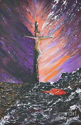 The Man On The Cross Original by Alys Caviness-Gober