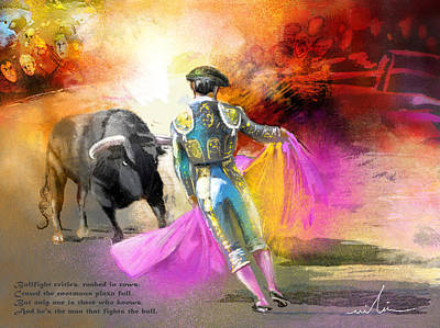 Torero Wall Art - Painting - The Man Who Fights The Bull by Miki De Goodaboom