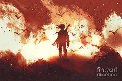 Guns Wall Art - Digital Art - The Man With A Gun Standing Against by Tithi Luadthong