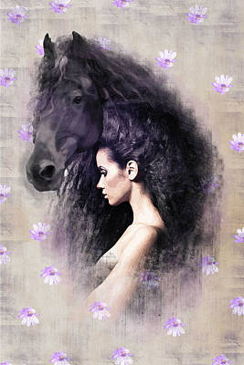 Friesian Digital Art - The Mane by Graphicsite Luzern