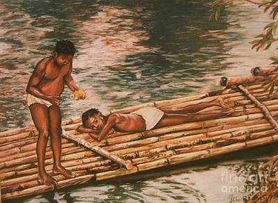 Bamboo Painting - The Mango Eaters by John Clark