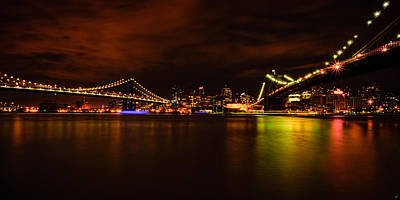 Photograph - The Manhattan And Brooklyn Bridges At Night by Chris Lord