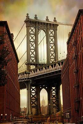 Empire State Building Digital Art - The Manhattan Bridge by Jessica Jenney