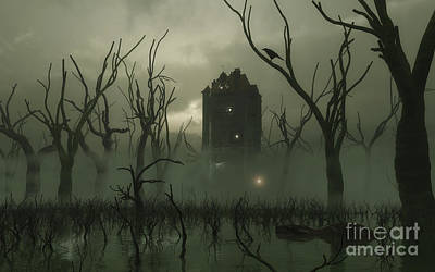 Murky Digital Art - The Manse In The Swamp by Fairy Fantasies
