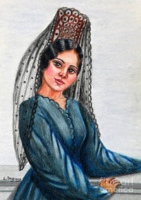 Drawing - The Mantilla by Lora Duguay