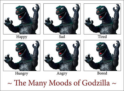Manga Photograph - The Many Moods Of Godzilla by William Patrick
