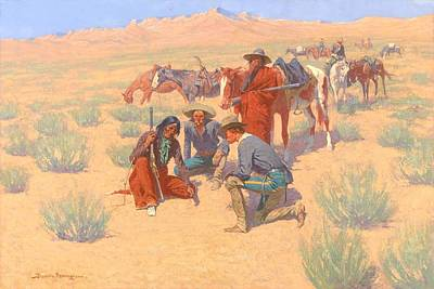 Cartography Painting - The Map In The Sand, 1905  by Frederic Remington