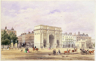 Horse And Carriage Wall Art - Photograph - The Marble Arch Wc On Paper by Thomas Hosmer Shepherd