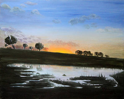 Painting - The March Of The Elephants by Pilar  Martinez-Byrne