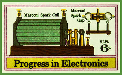 Electronics Painting - The Marconi Spark Coil Stamp by Lanjee Chee