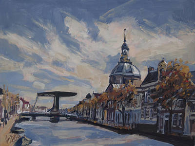 Lights Painting - The Mare Church And Mare Bridge Leiden by Nop Briex