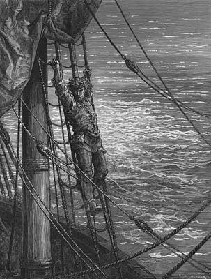 The Mariner Describes To His Listener The Wedding Guest His Feelings Of Loneliness And Desolation  Art Print by Gustave Dore