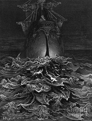 Poem Drawing - The Mariner Gazes On The Ocean And Laments His Survival While All His Fellow Sailors Have Died by Gustave Dore
