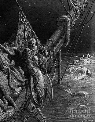 Reptiles Drawing - The Mariner Gazes On The Serpents In The Ocean by Gustave Dore
