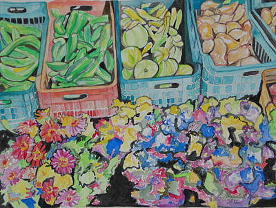 Painting - The Market In Mykanos by Esther Newman-Cohen