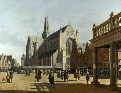 Painting - The Market Place And The Grote Kerk At Haarlem by Gerrit Adriaenszoon Berckheyde