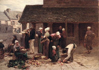 Gathering Photograph - The Market Place Of Ploudalmezeau, Brittany, 1877 Oil On Canvas by Leon Augustin Lhermitte