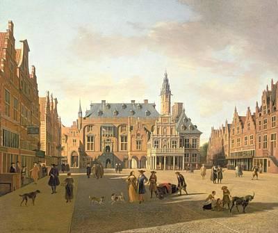 The Market Place With The Raadhuis, Haarlem, 17th Century Art Print by Gerrit Adriaensz Berckheyde